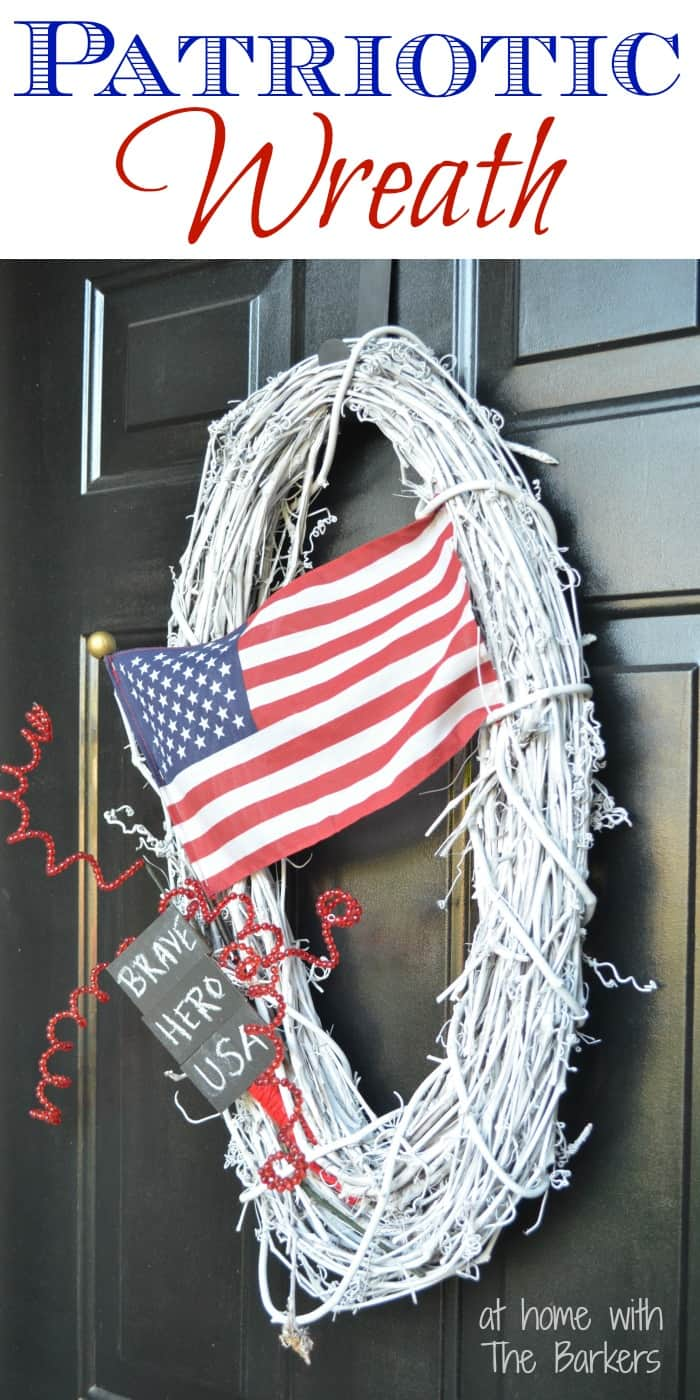 Patriotic Wreath-American Flag-Memorial Day-At Home with The Barkers