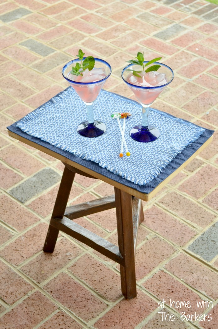 Repuposed Stool for Outdoor Entertaining