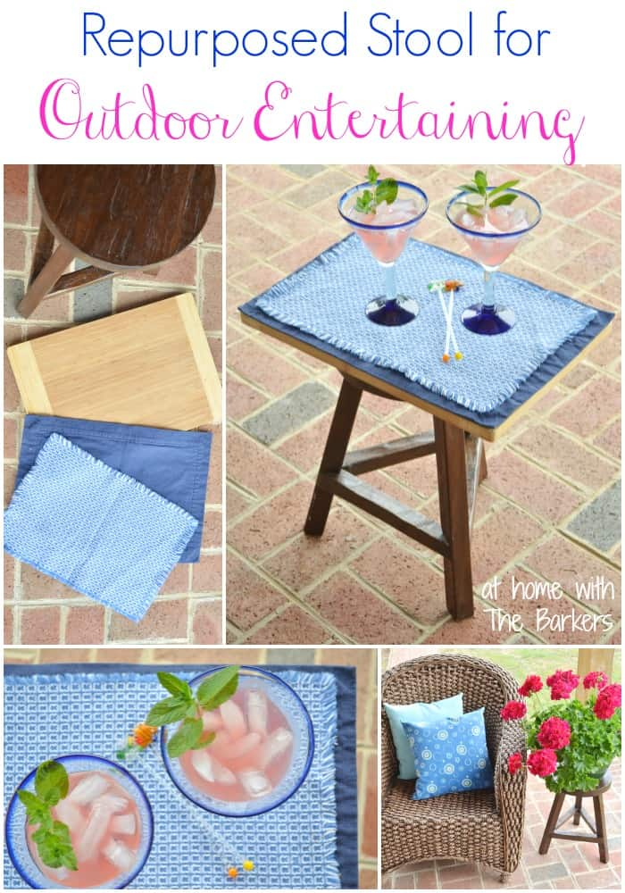 Repurposed Stool for Outdoor Entertaining-Outdoor Living