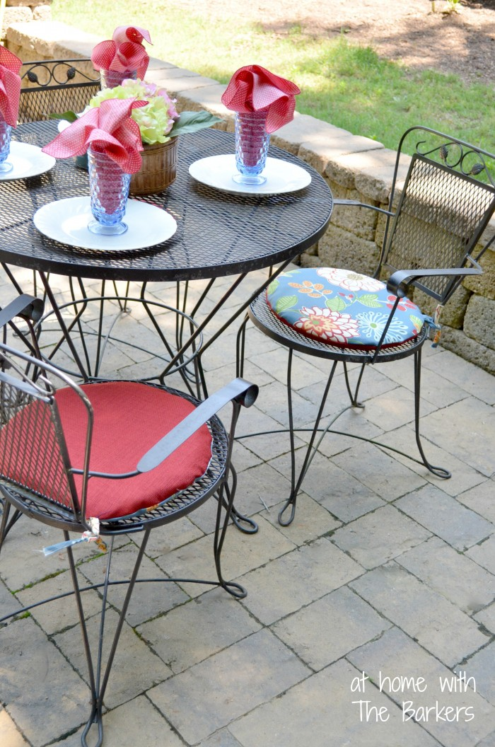 Reversible Patio Cushions-Floral and Red