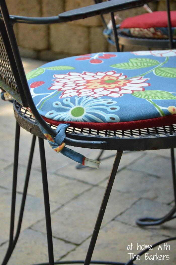 Reversible Patio Cushions-Iron Bistro Table