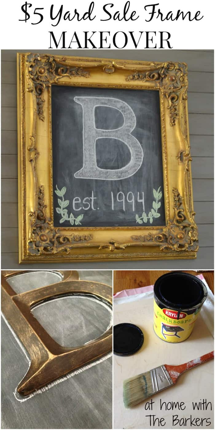 Chalkboard Art and $5 Yard Sale Frame-At Home with The Barkers
