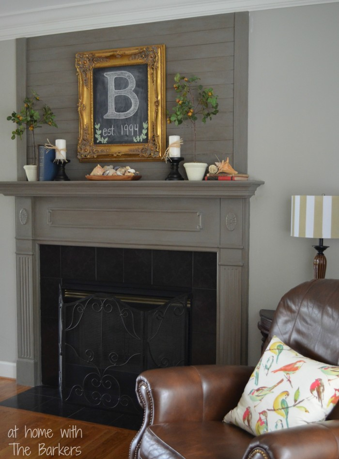 Chalkboard Art and $5 Yard Sale Frame-Mantel Makeover