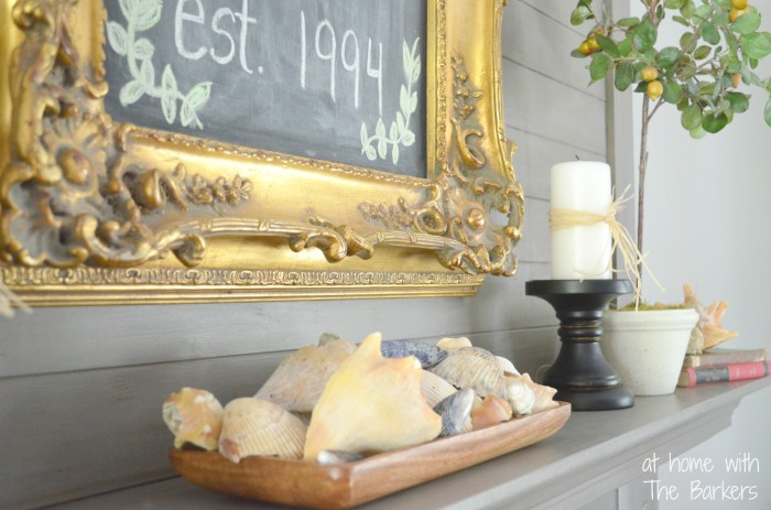 Chalkboard Art and $5 Yard Sale Frame-Summer Mantel Decor
