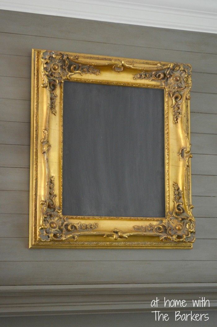 Chalkboard Art and $5 Yardsale Frame-Mantel
