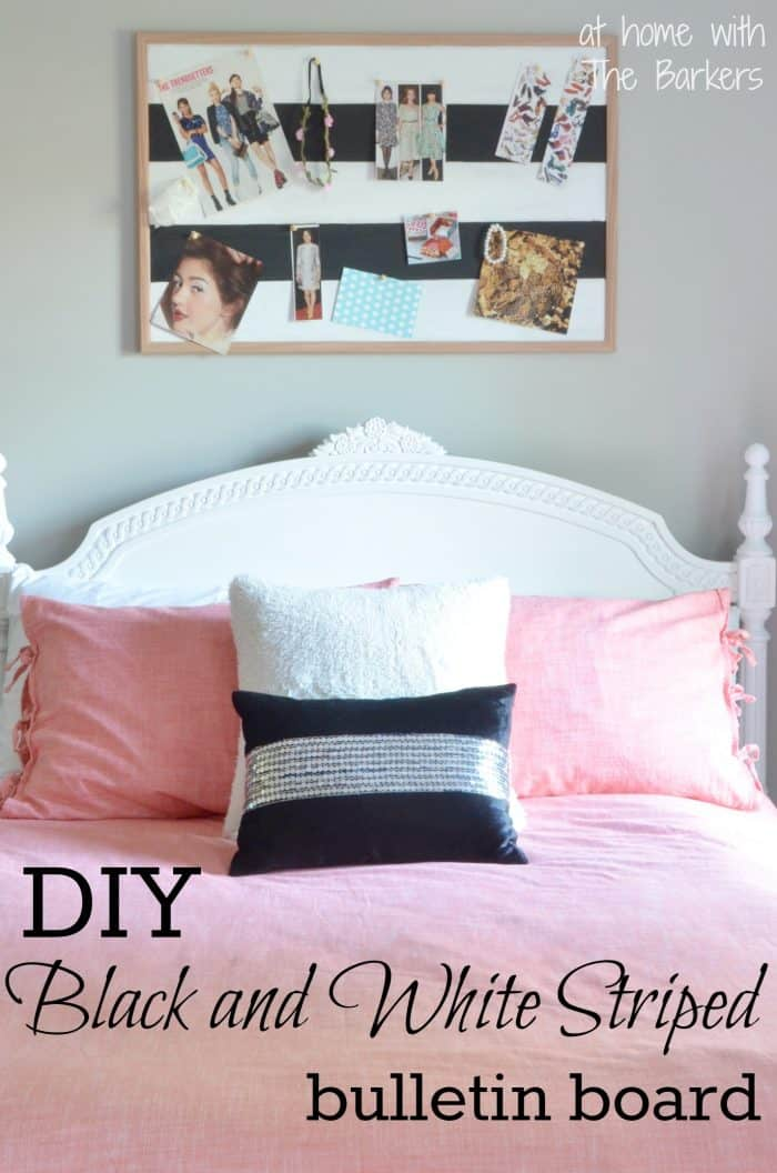 How to paint stripes-DIY black and white striped bulletin board