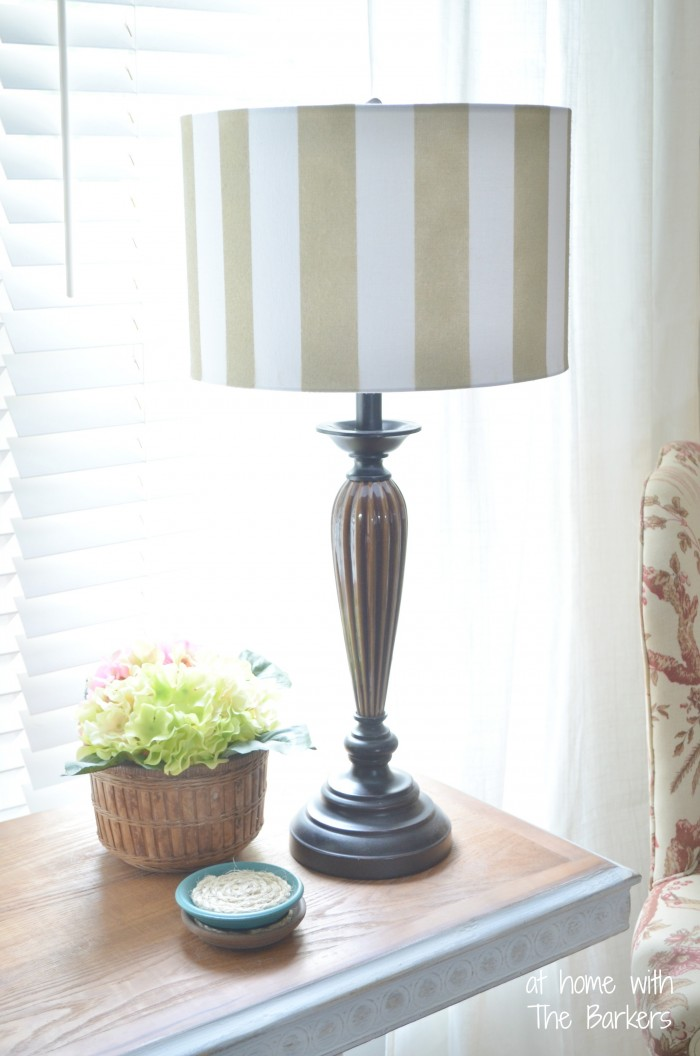 Diy spray painted lamp shade at home with the barkers for Living room lamp shades