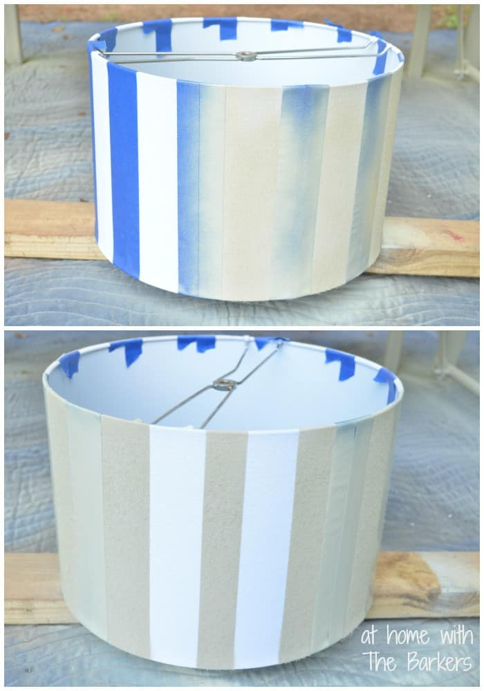 Diy spray painted lamp shade at home with the barkers spray painted lamp shade painting mozeypictures Choice Image