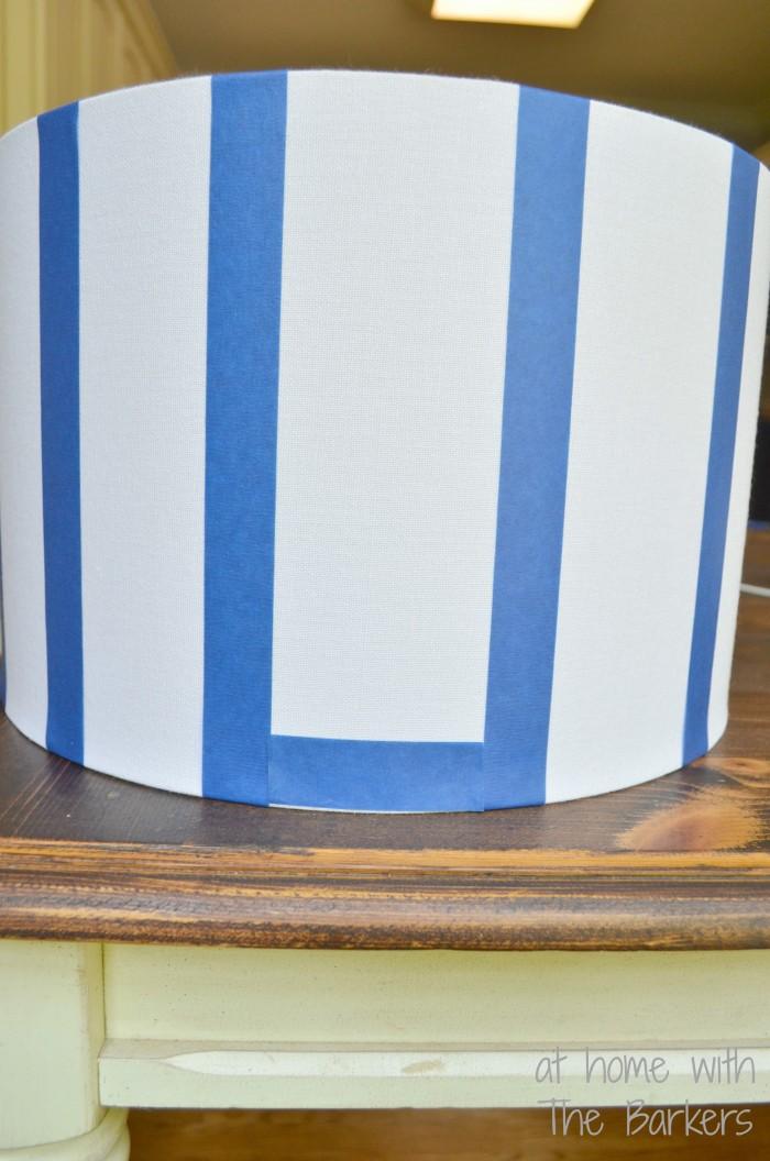 DIY Spray Painted Lamp Shade-Stripes