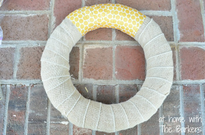 Summer Sunflower Wreath-Burlap and Polka Dot Ribbon