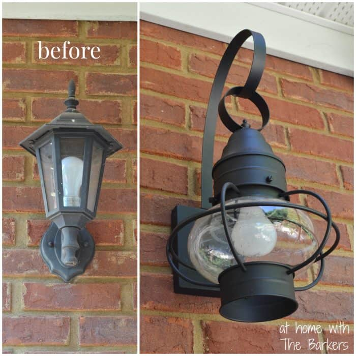 Summer Sunflower Wreath-Porch Lantern before and after