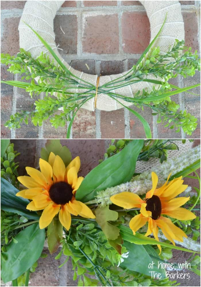 Summer Sunflower Wreath-layering the greenery