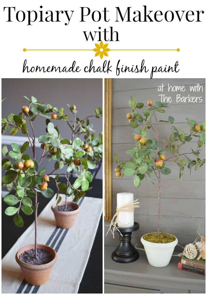 Topiary Pot Makeover-homemade chalk finish paint