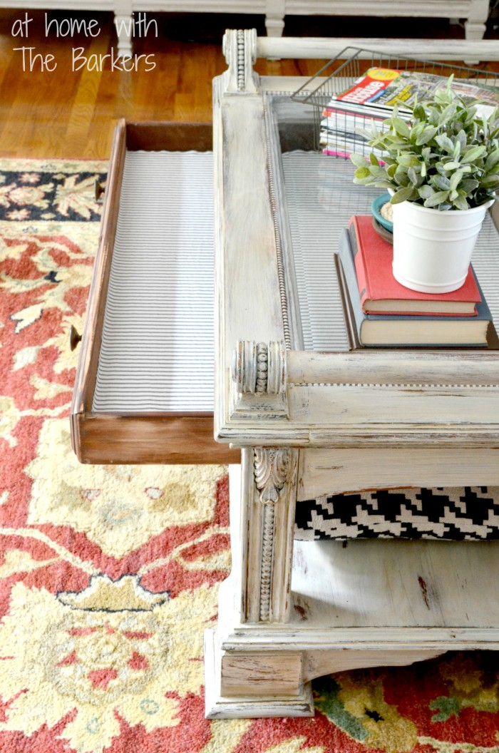 Coffee Table Makeover-Fabric covered drawer