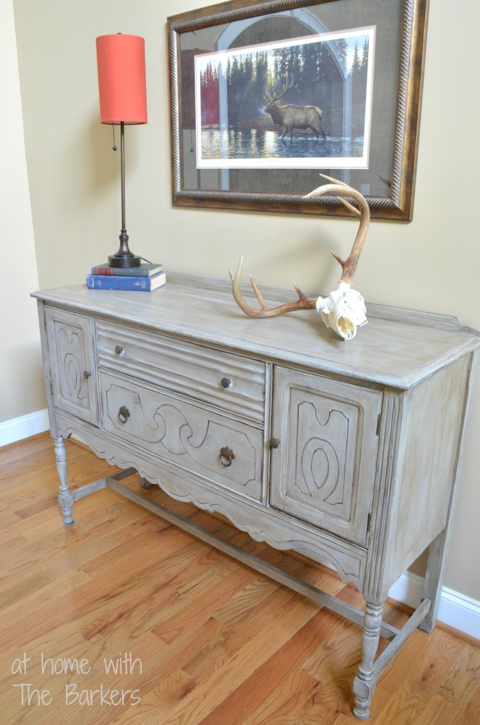Paris Grey Buffet Table-Antiqued-Distressed-Finish