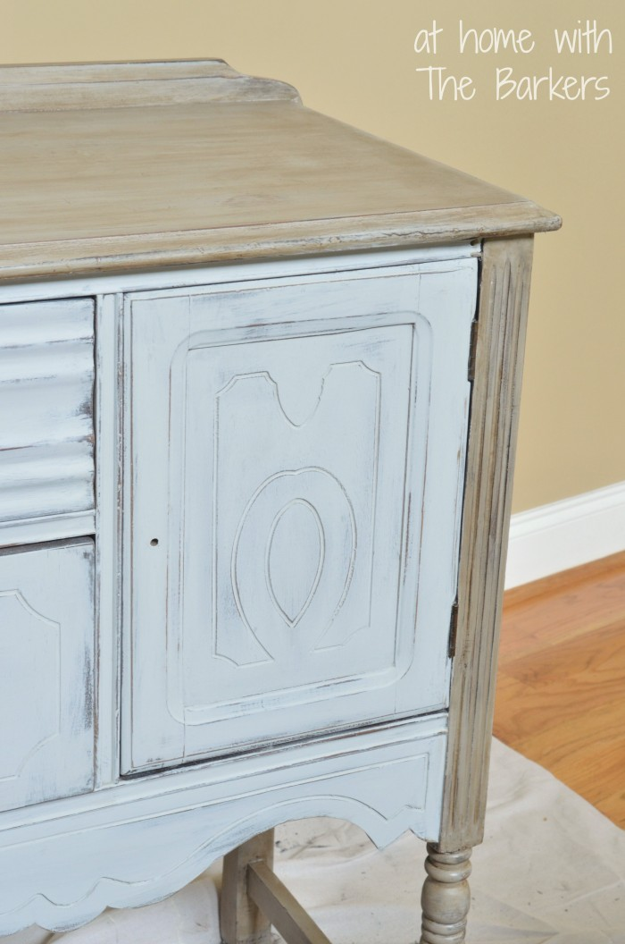 Annie Sloan Chalk Paint Paris Grey Buffet Table-Dark Wax Detail