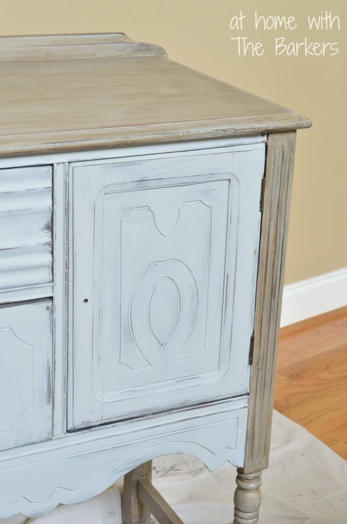 Annie Sloan Chalk Paint Paris Grey Buffet Table-Dark Wax Detail
