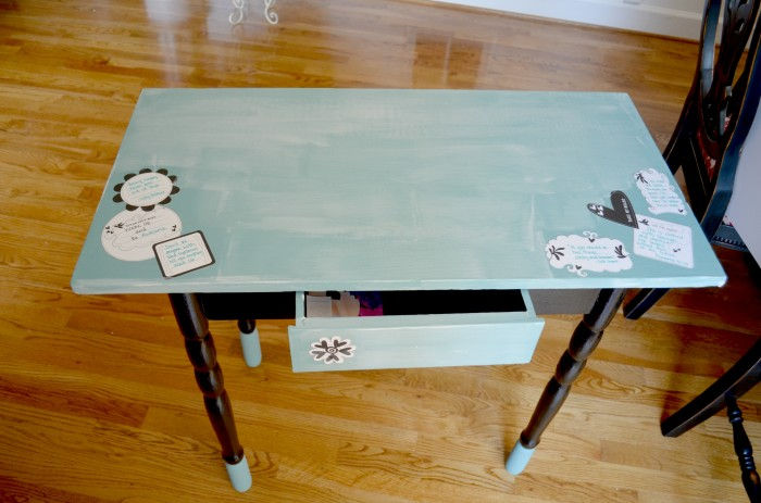 Decoupage Vanity- Mod Podge dries clear