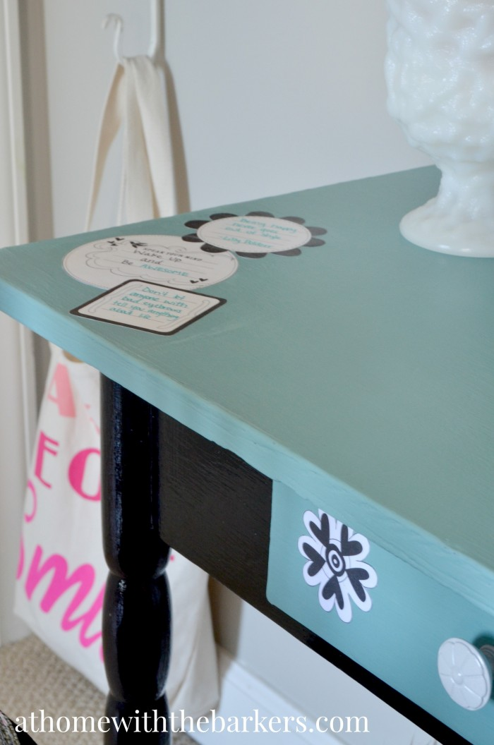Decoupage Vanity- Scrapbook paper and Mod Podge