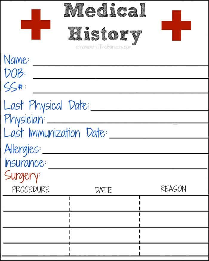 medical history free printable at home with the barkers. Black Bedroom Furniture Sets. Home Design Ideas