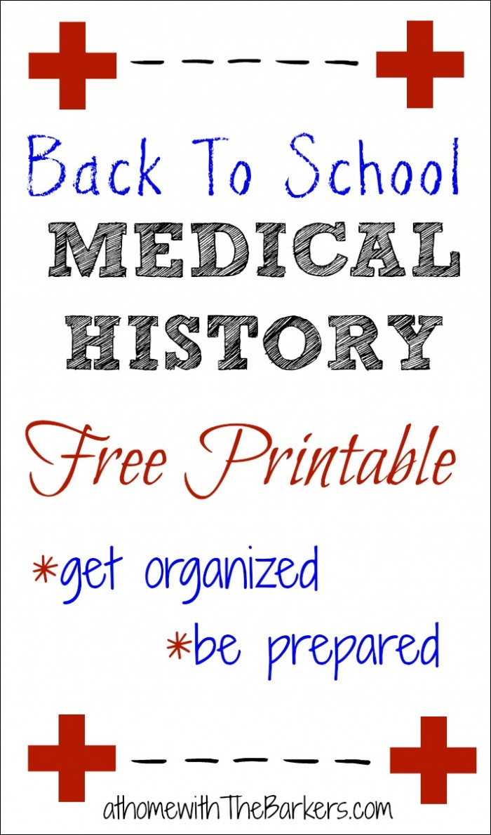 Medical History Free Printable-Back to School-Organization