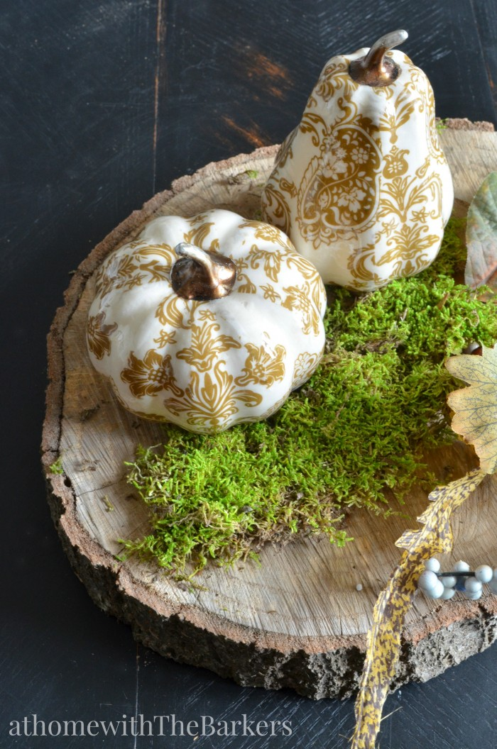 fall Centerpiece-Gold Pumpkins