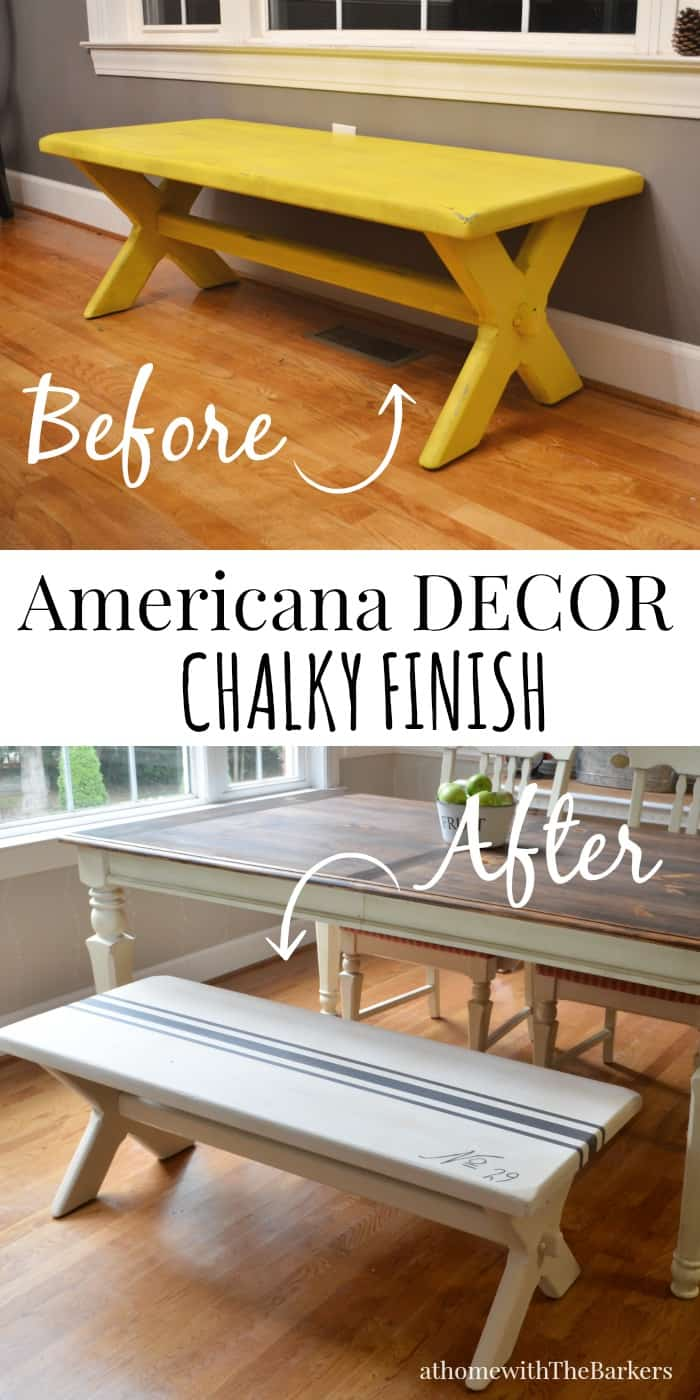 DecoArt-Grain Sack Bench Makeover-Before and After