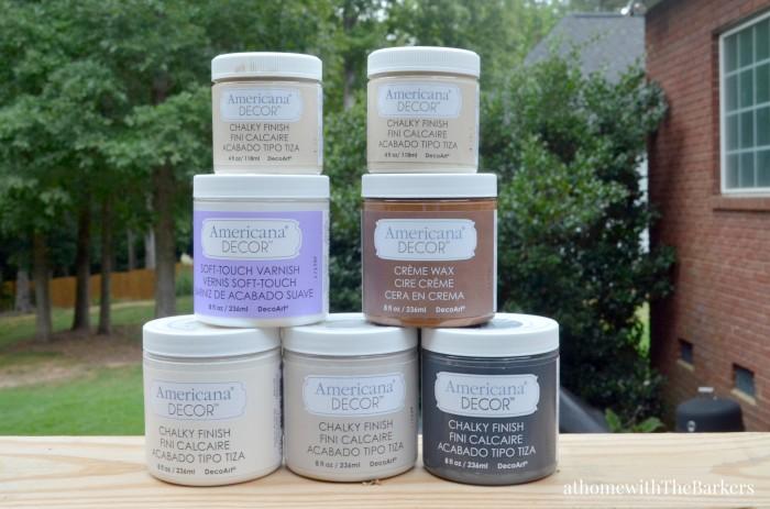 DecoArt-Grain Sack Bench Makeover-Chalky FInish Americana Decor