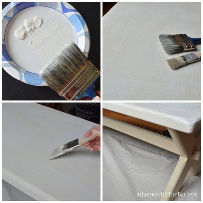 DecoArt-Grain Sack Bench Makeover-Dry Brush Painting