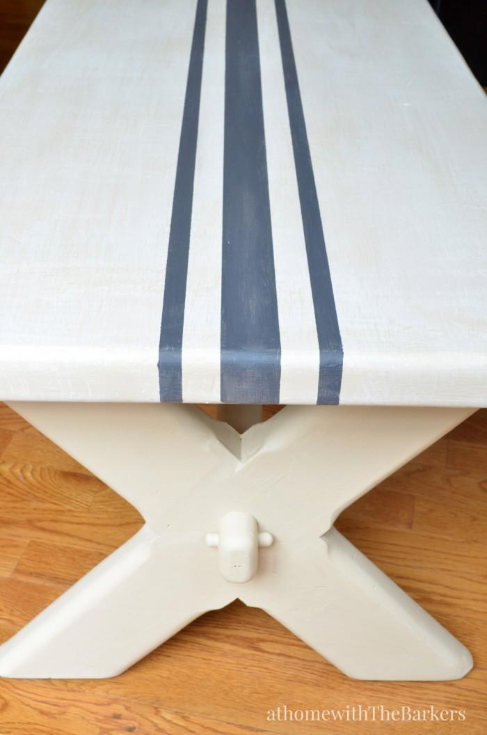 DecoArt-Grain Sack Bench Makeover-Farmhouse Table Bench