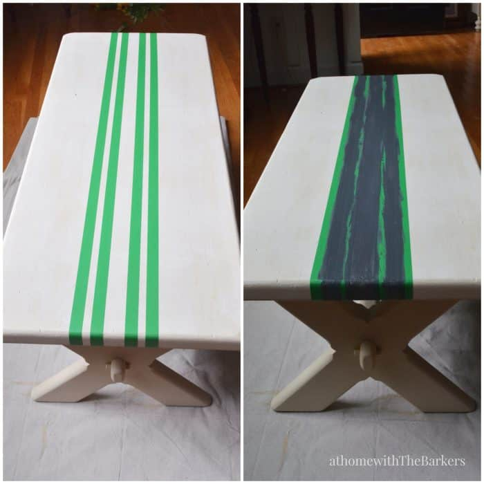 DecoArt-Grain Sack Bench Makeover-Painting stripes