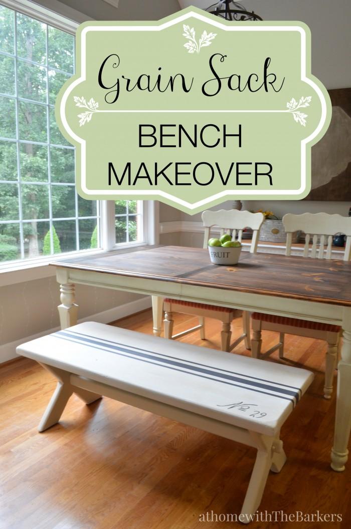 Grain Sack Bench Makeover-DecoArt-Americana Decor-Chalky Finish Paint #chalkyfinish #decoartprojects