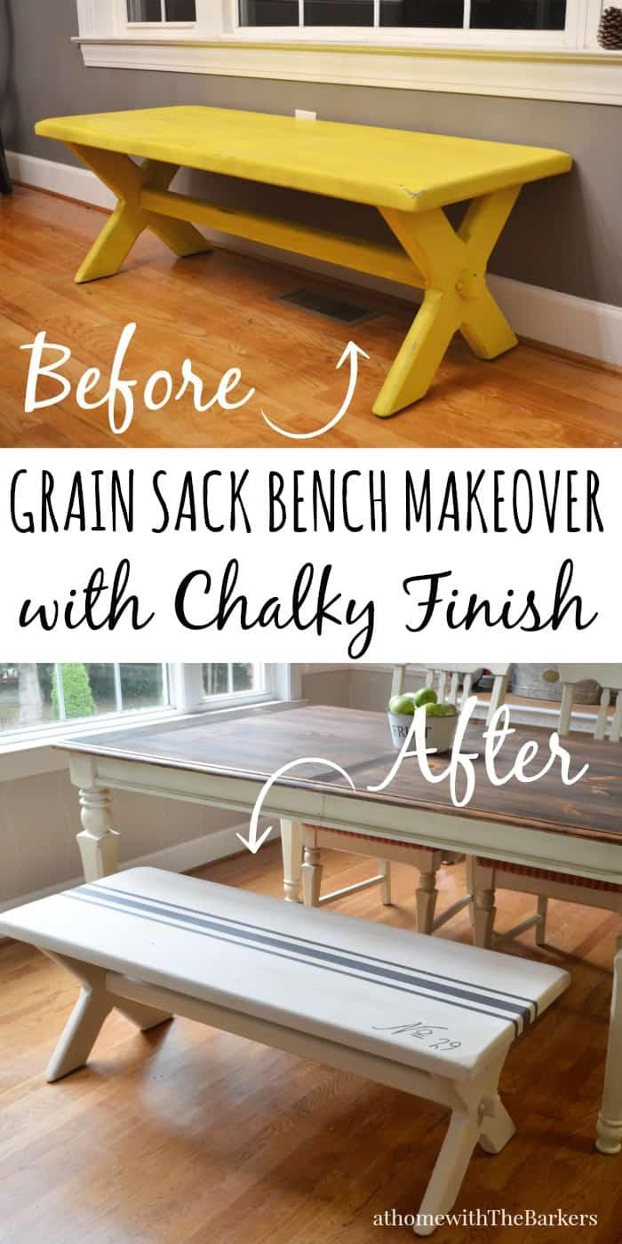 Grain Sack Bench Makeover