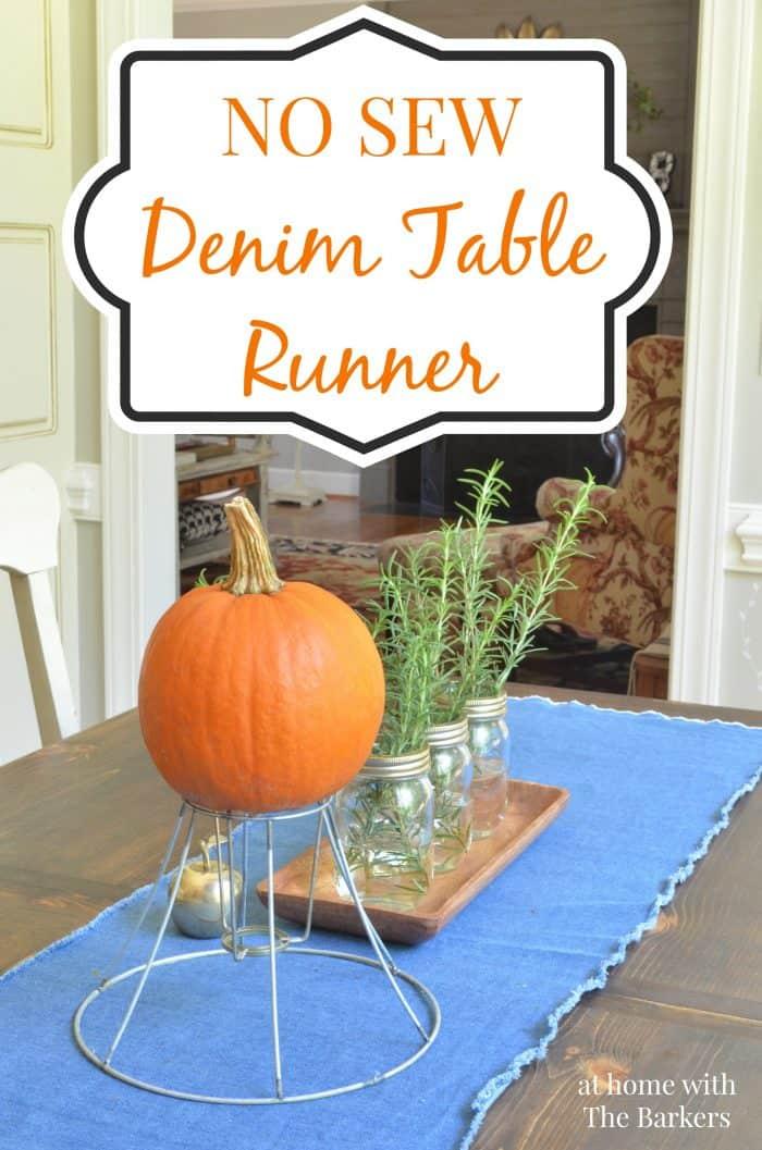 No Sew Denim Table Runner
