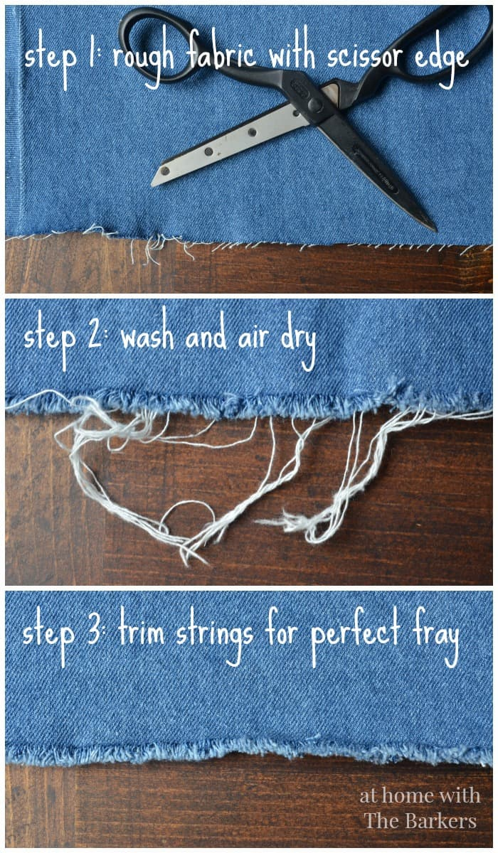 No Sew Denim Table Runner-How to fray denim fabric