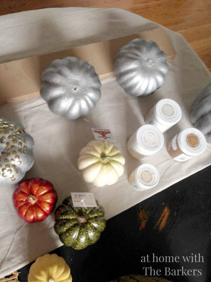 Painted Pumpkins Before using DecoArt Chalky Finish paint, plastic and styrofoam