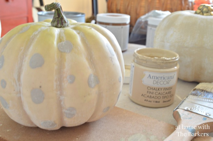 Painted Pumpkins-White Washed and Polka Dots