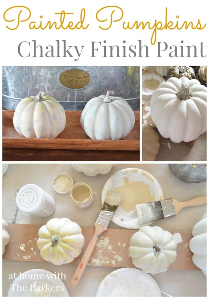Painted Pumpkins applying Chalky Finish Paint
