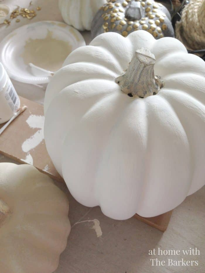 Painted Pumpkins, Chalky Finish paint on plastic pumpkin