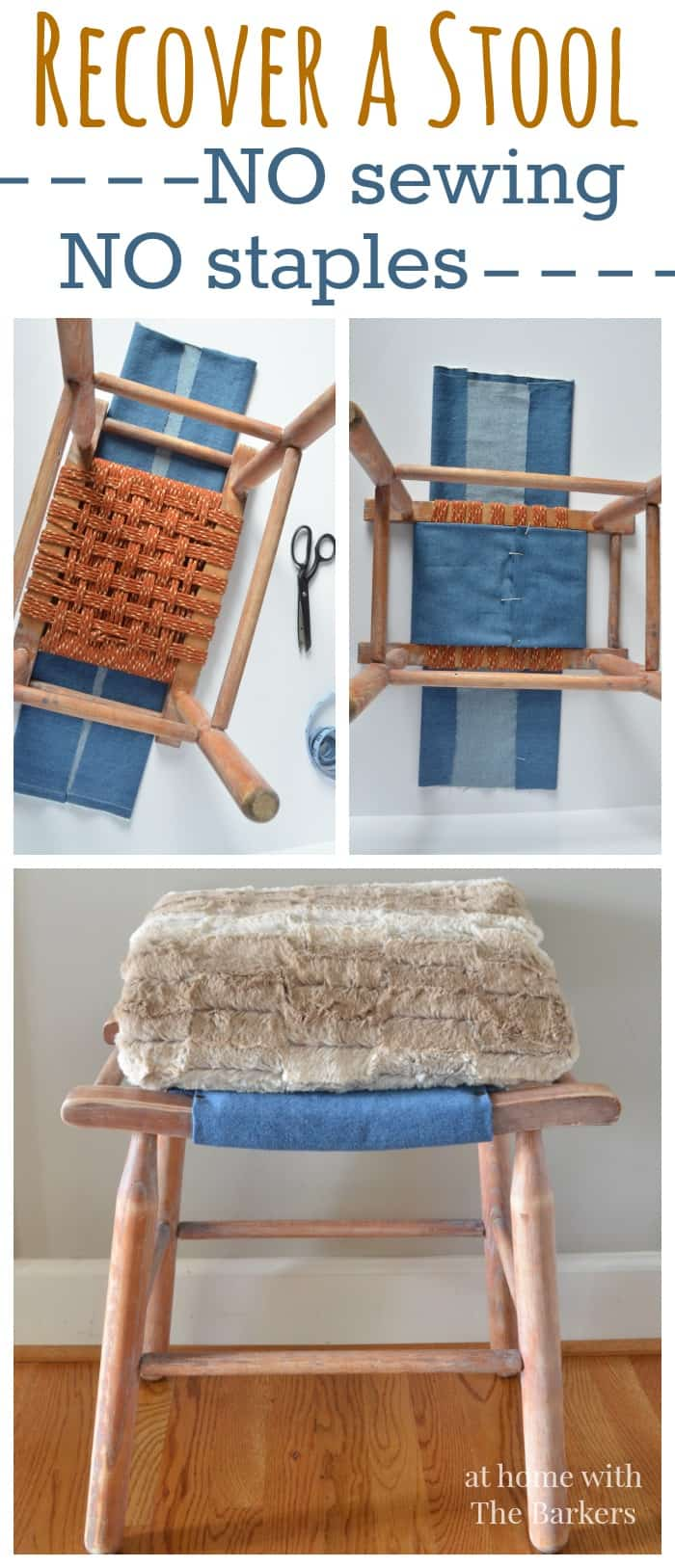Recover a Vintage Wood Stool-No sewing-No staples