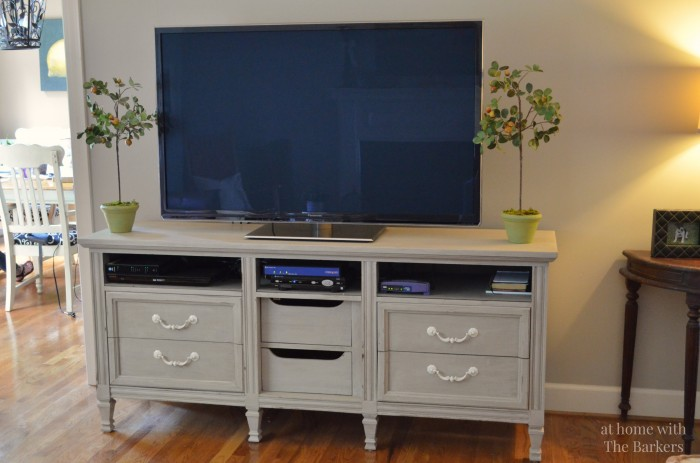 Tv stand makeover at home with the barkers