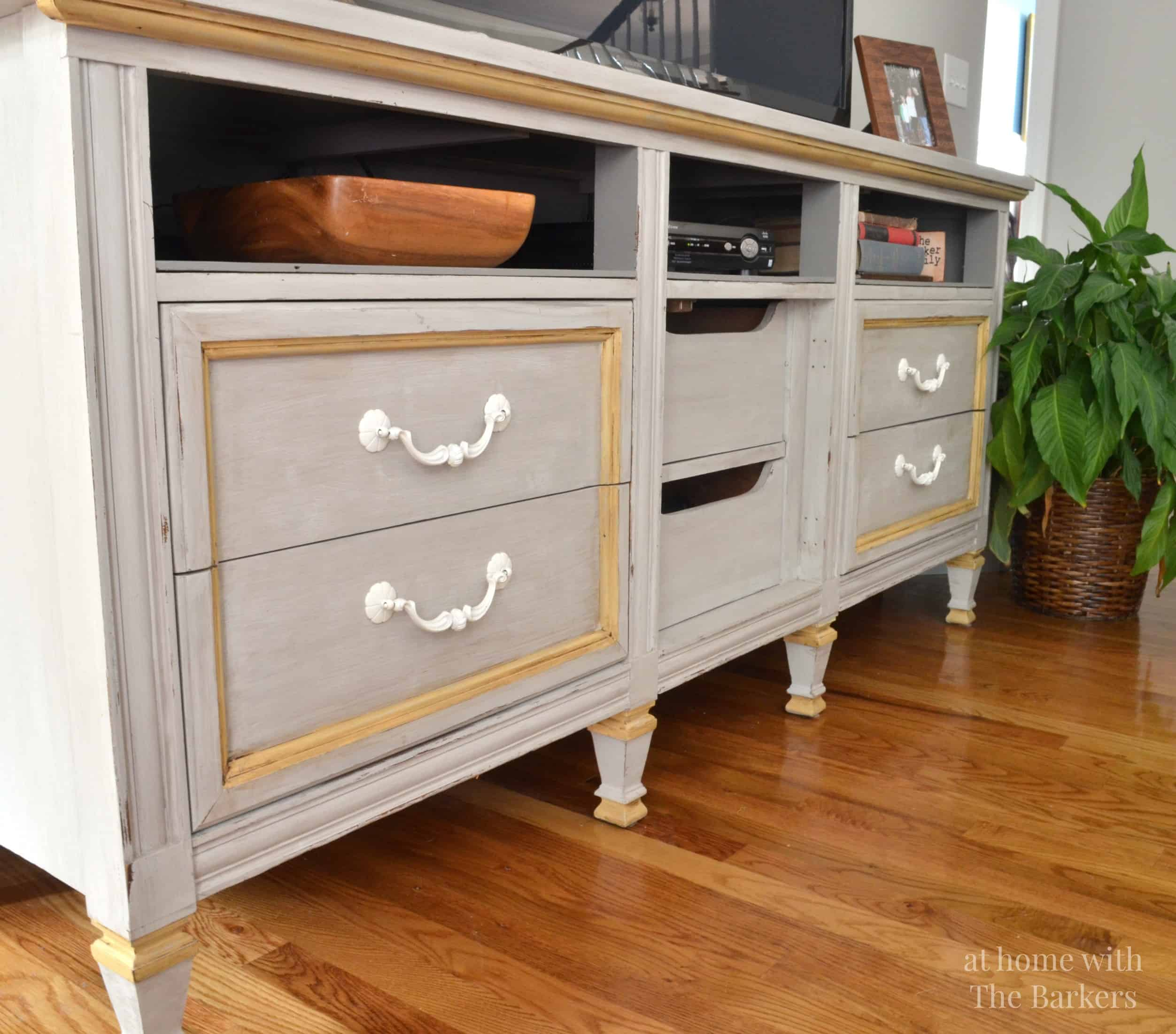tv stand makeover at home with the barkers. Black Bedroom Furniture Sets. Home Design Ideas