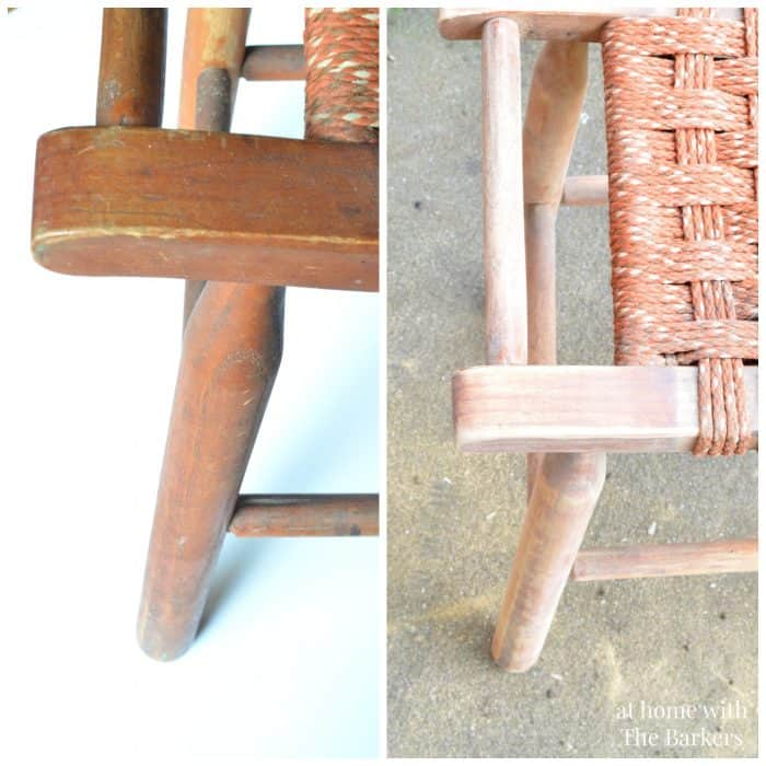 Vintage Wood Stool Makeover-Before and After Sanding