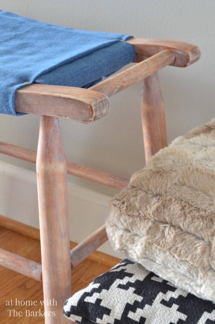 Vintage Wood Stool Makeover-Classic Denim