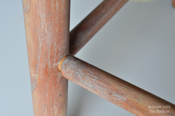 Vintage Wood Stool Makeover-Clear wax-white paint technique