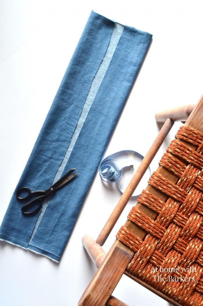 Vintage Wood Stool Makeover-Denim Seat Cover