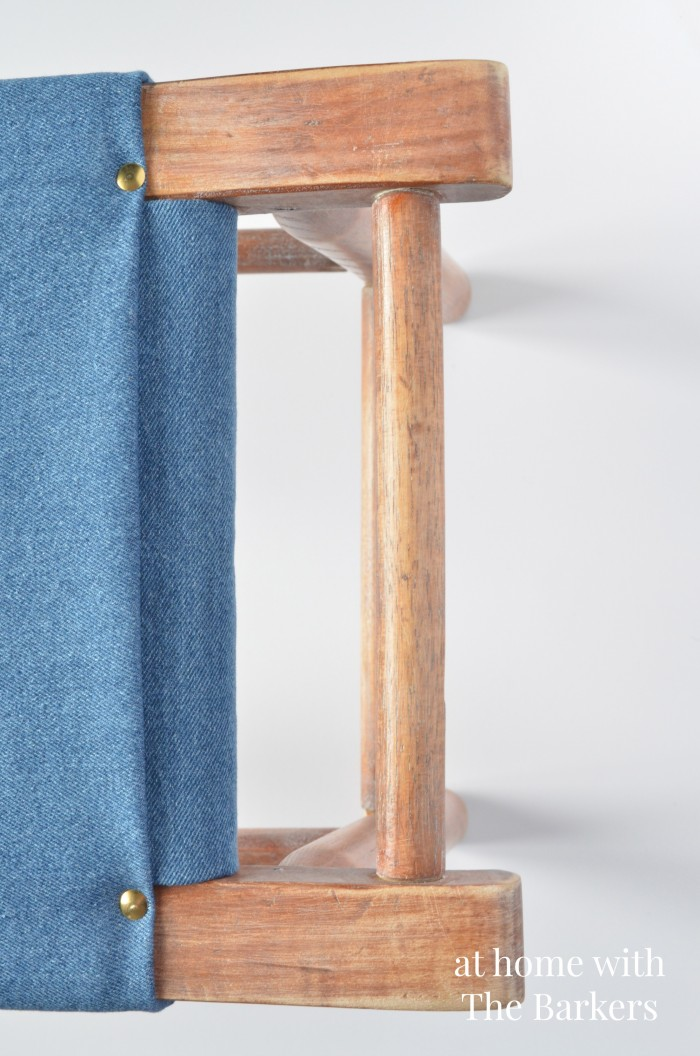 Vintage Wood Stool Makeover-Denim and Gold Thumbtacks