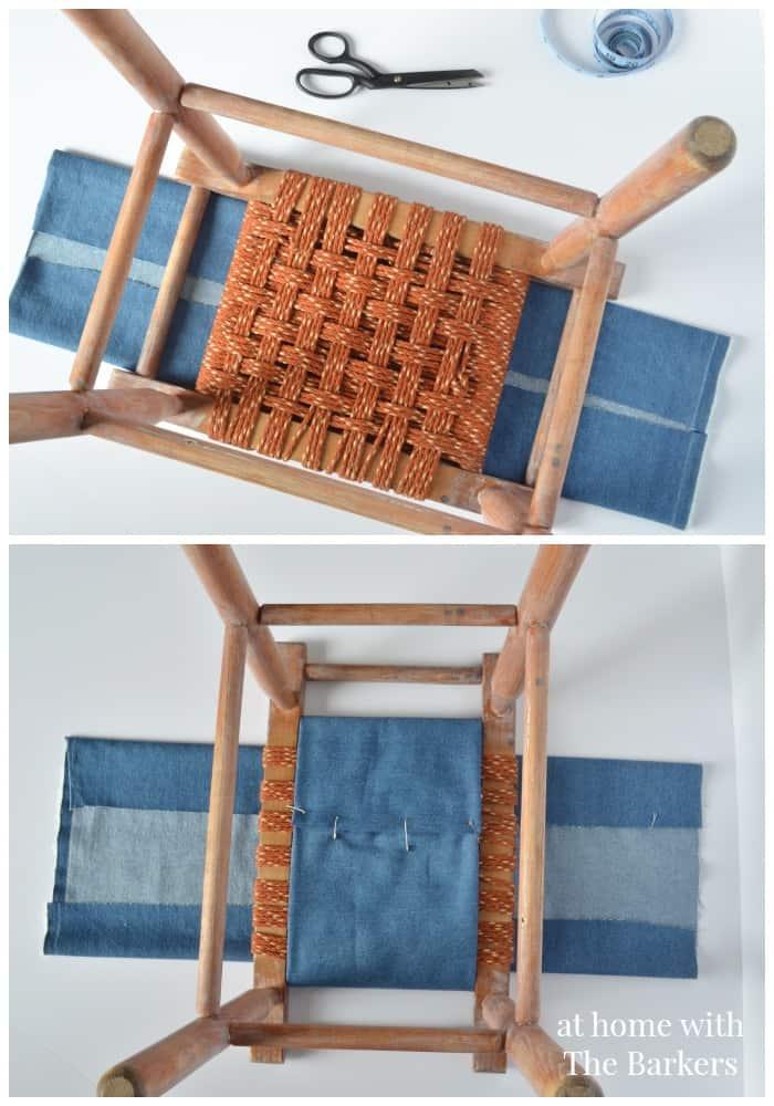 Vintage Wood Stool Makeover-No Sew Denim cover
