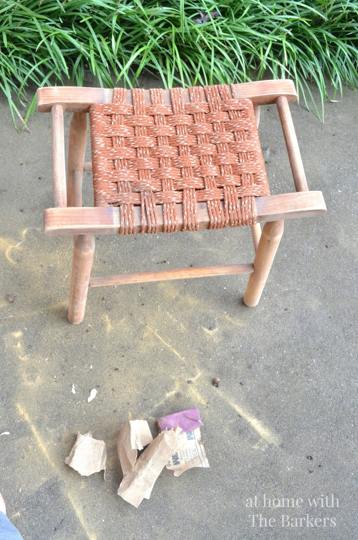 Vintage Wood Stool Makeover-Sanding