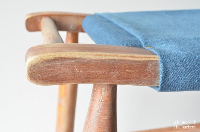 Vintage Wood Stool Makeover-Whitewashed detail